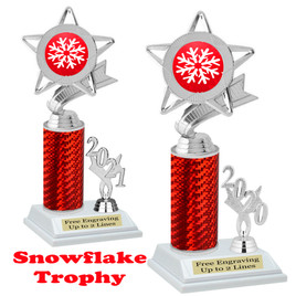 Snowflake theme trophy.  Great for your Winter themed events! Choice of year. 5043 red