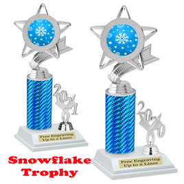 Snowflake theme trophy.  Great for your Winter themed events! Choice of year. 5043