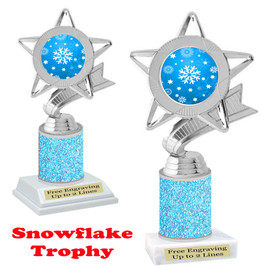 Snowflake theme trophy.  Lt. Blue Glitter Column.  Great for your Winter themed events! 5043