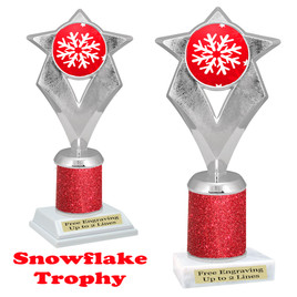 Snowflake theme trophy.  Red Glitter Column.  Great for your Winter themed events! 5086