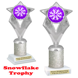 Snowflake theme trophy.  Silver Glitter Column.  Great for your Winter themed events! 5086