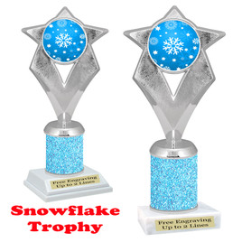 Snowflake theme trophy.  Lt. Blue Glitter Column.  Great for your Winter themed events! 5086