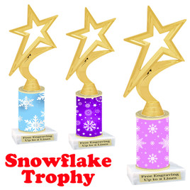 Snowflake theme trophy.  Great for you Winter themed events!  fig5000