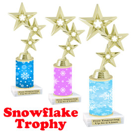 Snowflake theme trophy.  Great for you Winter themed events! Gold stars