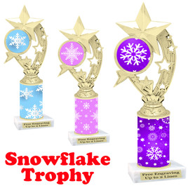 Snowflake theme trophy.  Great for you Winter themed events! h208