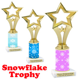 Snowflake theme trophy.  Great for you Winter themed events! Open Star