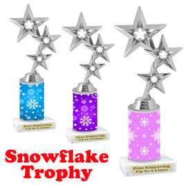 Snowflake theme trophy.  Great for you Winter themed events! Silver stars