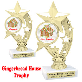 Gingerbread House theme trophy.  Great for your Holiday events, contests and parties.  h208