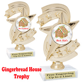 Gingerbread House theme trophy.  Great for your Holiday events, contests and parties.  h300