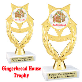 Gingerbread House theme trophy.  Great for your Holiday events, contests and parties.  ph97