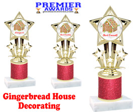 Gingerbread House theme trophy. Red Glitter Column.  Great for your Holiday events, contests and parties