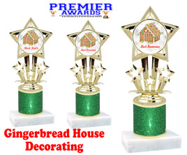 Gingerbread House theme trophy. Green Glitter Column.  Great for your Holiday events, contests and parties