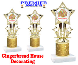 Gingerbread House theme trophy. Gold Glitter Column.  Great for your Holiday events, contests and parties
