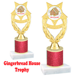 Gingerbread House theme trophy. Red Glitter Column.  Great for your Holiday events, contests and parties. ph97