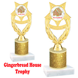 Gingerbread House theme trophy. Gold Glitter Column.  Great for your Holiday events, contests and parties. ph97