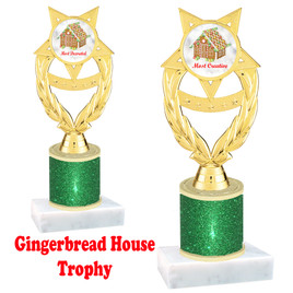 Gingerbread House theme trophy. Green Glitter Column.  Great for your Holiday events, contests and parties. ph97