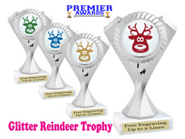 Glitter Reindeer trophy.  Great trophy for all of your holiday events and pageants.  5455