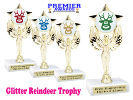 Glitter Reindeer trophy.  Great trophy for all of your holiday events and pageants. 7517