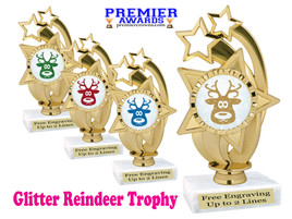 Glitter Reindeer trophy.  Great trophy for all of your holiday events and pageants. ph55