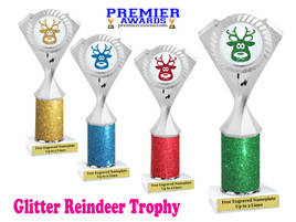 Glitter Reindeer trophy.  Great trophy for all of your holiday events and pageants. 1-5455