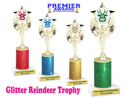 Glitter Reindeer trophy.  Great trophy for all of your holiday events and pageants. 1-7517