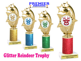 Glitter Reindeer trophy.  Great trophy for all of your holiday events and pageants. 1-ph55