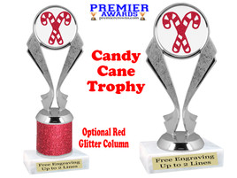 Glitter Candy Cane trophy.  Great trophy for all of your holiday events and pageants. 5096s