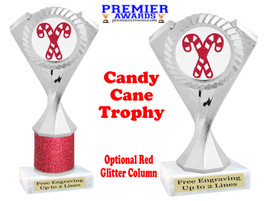 Glitter Candy Cane trophy.  Great trophy for all of your holiday events and pageants. 5455