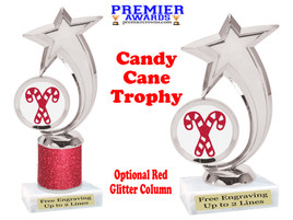 Glitter Candy Cane trophy.  Great trophy for all of your holiday events and pageants. 6061