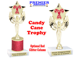 Glitter Candy Cane trophy.  Great trophy for all of your holiday events and pageants. 7517