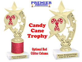 Glitter Candy Cane trophy.  Great trophy for all of your holiday events and pageants. h208