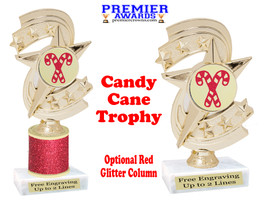 Glitter Candy Cane trophy.  Great trophy for all of your holiday events and pageants. h300