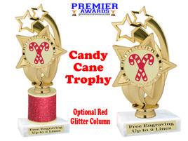 Glitter Candy Cane trophy.  Great trophy for all of your holiday events and pageants. ph55