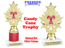 Glitter Candy Cane trophy.  Great trophy for all of your holiday events and pageants. ph75