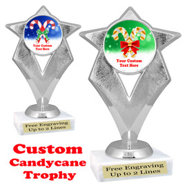 Custom Candy Cane trophy.  Great trophy for all of your holiday events and pageants.   5086S