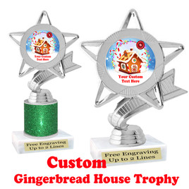Custom Gingerbread House trophy.  Great trophy for all of your holiday events and pageants.  5043s