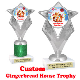 Custom Gingerbread House trophy.  Great trophy for all of your holiday events and pageants.  5086s