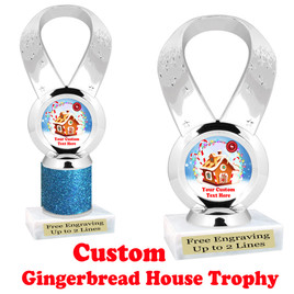 Custom Gingerbread House trophy.  Great trophy for all of your holiday events and pageants.  5093s