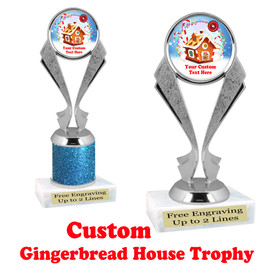 Custom Gingerbread House trophy.  Great trophy for all of your holiday events and pageants.  5096s
