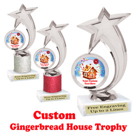 Custom Gingerbread House trophy.  Great trophy for all of your holiday events and pageants.  6061s