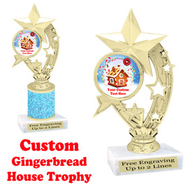 Custom Gingerbread House trophy.  Great trophy for all of your holiday events and pageants.  h208