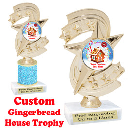 Custom Gingerbread House trophy.  Great trophy for all of your holiday events and pageants.  h300