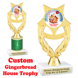 Custom Gingerbread House trophy.  Great trophy for all of your holiday events and pageants.  ph97