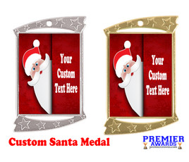 Custom Santa Medal.  Great for all of your holiday events and parties. -3