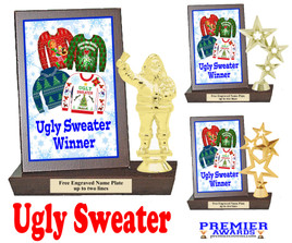 Ugly Sweater Plaque and Figure.   A unique award for all of your Holiday Pageants, Events and more.  Winner