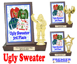 Ugly Sweater Plaque and Figure.   A unique award for all of your Holiday Pageants, Events and more.  3rd Place