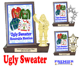 Ugly Sweater Plaque and Figure.   A unique award for all of your Holiday Pageants, Events and more.  Honorable mention