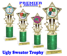 Ugly Sweater theme trophy. Add some bling to your Holiday Events with this Glitter column trophy.  767-2