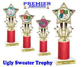 Ugly Sweater theme trophy. Add some bling to your Holiday Events with this Glitter column trophy.  767-3
