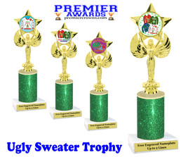 Ugly Sweater theme trophy. Add some bling to your Holiday Events with this Glitter column trophy.  7517-2